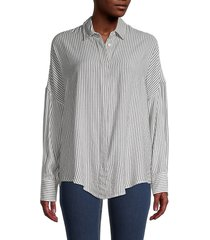 iro women's striped long-sleeve shirt - black white - size 36 (4)