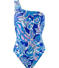 emilio pucci one shoulder printed swimsuit - blue