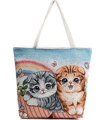canvas cute cat modello tote handbag shoulder borsa per le donne