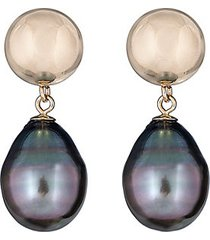 14k yellow gold & 10-11mm tahitian pearl drop earrings
