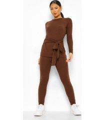 gebreide top en legging in kleine maat met geribbelde riem, chocolate