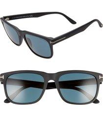 men's tom ford 56mm rectangle sunglasses - matte black/ dark teal