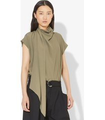 proenza schouler short sleeve scarf top dark taupe/grey 0