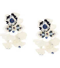 biyan oversized floral earrings - white