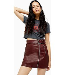 burgundy faux leather pu hardware mini skirt - burgundy