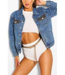 two tone jean jacket, mid blue
