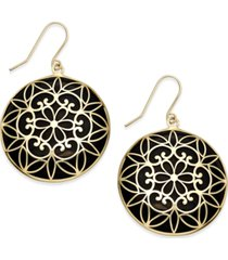 onyx decorative medallion drop earrings (23mm) in 14k gold