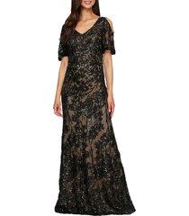 women's alex evenings sequin lace cold shoulder trumpet gown, size 12 - black