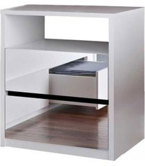 mesa de cabeceira 2 gavetas espelhadas  branco m foscarini - branco - dafiti
