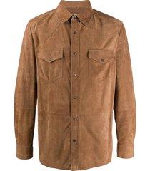 brunello cucinelli western suede shirt - brown