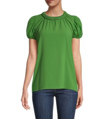 kenzo women's puff-sleeve top - blue - size 42 (10)