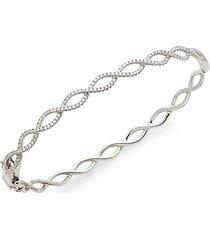 14k white gold & diamond crisscross bangle bracelet