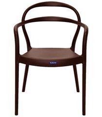 cadeira com braços em polipropileno sissi 79x58x51,5cm marrom