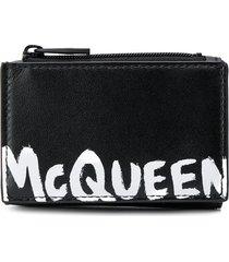 alexander mcqueen logo printed tri-fold wallet - black