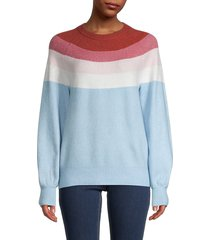 saks fifth avenue women's colorblock stripe sweater - ivory yellow - size xs