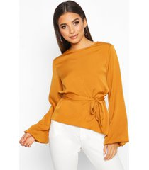 asymmetric balloon sleeve belted blouse, mustard