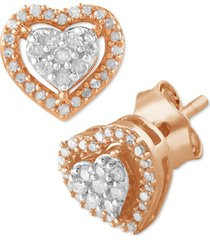 diamond heart cluster stud earrings (1/6 ct. t.w.) in rose gold-plated sterling silver
