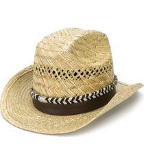 saint laurent braided ribbon fedora hat - neutrals