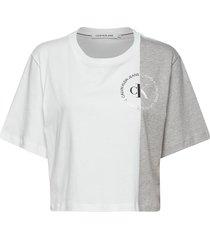 ck round logo blocke crop tops vit calvin klein jeans