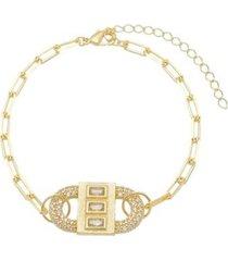 pulseira piuka rafa locker baguete zircônias folheado a ouro 18k. feminina - feminino