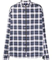 juun.j checked zip-up shirt - blue