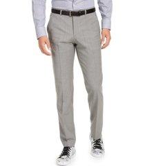 hugo hugo boss men's slim-fit stretch light gray sharkskin suit pants