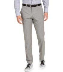 hugo men's slim-fit stretch light gray sharkskin suit pants