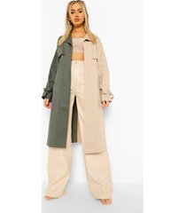 colour block trenchcoat met ceintuur, khaki
