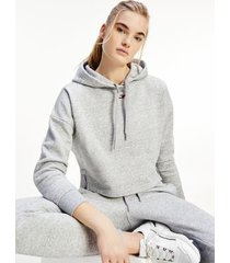 tommy hilfiger women's solid hoodie light grey heather - l