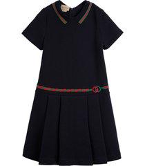 gucci blue cotton dress with web details