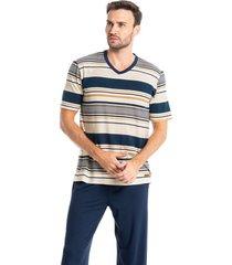 pijama masculino longo manga curta listrado josé