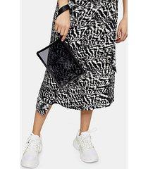 black transparent tpu zip top pouch bag - black