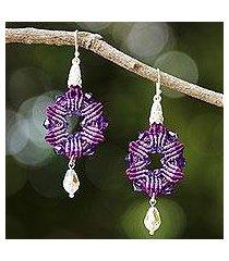 beaded silk dangle earrings, 'sparkling rosettes in purple' (thailand)