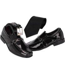 kit sapato social infantil c/ cinto e gravata - masculino
