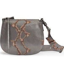 allsaints captain round snakeskin embossed leather crossbody bag - grey (nordstrom exclusive)