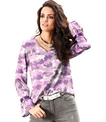 blus med volangärmar amy vermont lila::grå::offwhite