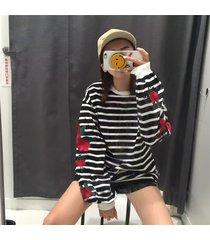 2017 harajuku hoodies roses embroidery loose striped sweatshirt girl vintage