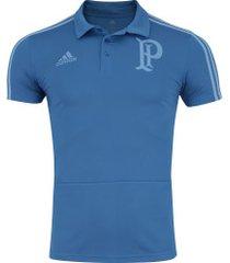 camisa polo do palmeiras viagem 2018 adidas - masculina - azul