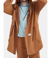 cappotto da uomo in 100% cotone con cappuccio primavera autunno tinta unita giacche con coulisse lunghe