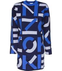 kenzo kenzo logo intarsia sweater dress