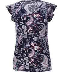 camiseta con escote en v color azul, talla 10