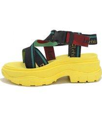 sandalia amarilla plataforma leblu