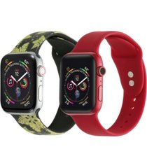 men's and women's gold-tone snow flake red 2 piece silicone band for apple watch 42mm
