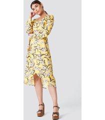 rut&circle flower ls wrap dress - multicolor