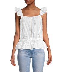 cliché women's eyelet cap-sleeve blouse - white - size s