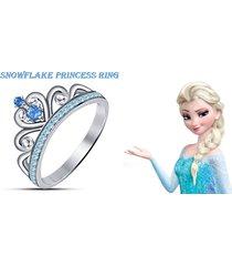 snowflake disney princess crown ring multi cz 14k white gold plated 925 silver