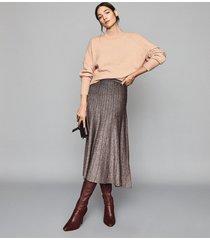 reiss bea - metallic pleat-effect skirt in bronze, womens, size xxl