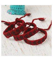 cotton wristband bracelets, 'ebony friendship geometry' (set of 3) (mexico)