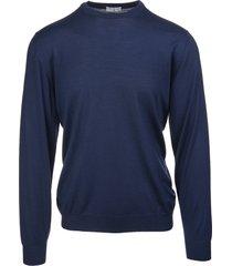 fedeli man round-neck pullover in dark blue wool