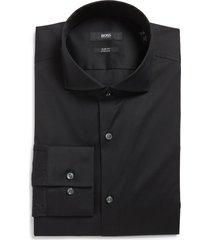 men's boss jason slim fit solid stretch dress shirt, size 15 - black